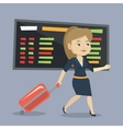 Woman walking with suitcase at the airport vector image