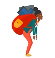 Woman with backpack full of devices vector image vector image