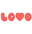 word love with a red cartoon heart comic vector image vector image