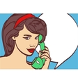 art of beautiful woman with phone pin up vector image