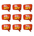 set of discount red tags or label isolated on vector image
