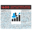 Audience Growth Icon with Large Pictogram vector image vector image