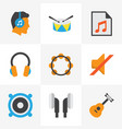 audio flat icons set collection of media rhythm vector image vector image