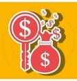 bag money dollar key vector image