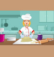baker making dough vector image