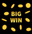 big win banner golden text with flying dollar vector image vector image