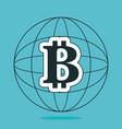bitcoin world planet icon vector image vector image