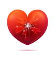Broken glass heart concept vector image