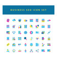 business and seo icon set with colorful modern vector image vector image