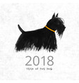 chinese new year greeting card with a dog on rice vector image vector image
