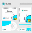 company design brochure with stationary items vector image vector image