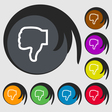 Dislike icon sign Symbol on eight colored buttons vector image vector image