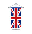 english flag on the cross metallic pole vector image vector image