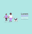 fat obese couple walking with husky dog african vector image vector image