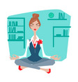 female office worker meditating vector image