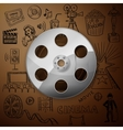 Film Reel and hand draw cinema icon vector image vector image