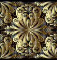 gold vintage floral 3d seamless pattern abstract vector image vector image