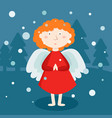 greeting card christmas card with christmas angel vector image vector image