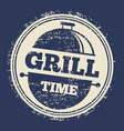 grill grunge label design on blue backdrop vector image