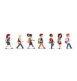 group of pupils mix race walking school children vector image vector image