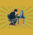 hacker sitting at computer vector image vector image