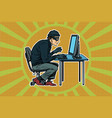hacker sitting at the computer vector image