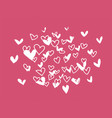 hand drawn hearts on red vector image vector image