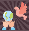 hands with kawaii world peace pigeon flying vector image vector image