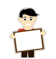 happy boy holding board icon vector image