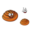 Happy delicious cartoon sticky bun vector image vector image