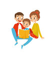 happy family reading book together vector image vector image