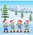 happy kid wearing santa hat singing in the snowing vector image