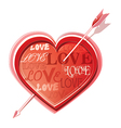 Heart struck by arrows vector image vector image