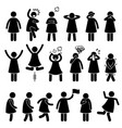 human female girl woman action poses postures vector image