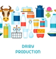 Milk seamless pattern with dairy products and vector image