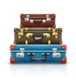 Old retro vintage suitcases bags vector image