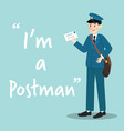 postman character with letter on sky blue vector image vector image