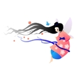 pretty fairy in a dress with flowers vector image