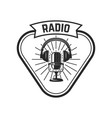 radio emblem template with retro microphone vector image vector image