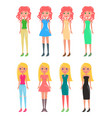 redhead and blonde girls in modern casual looks vector image vector image