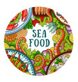 round banner with seafood vector image