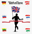 Running man silhouette with flag in his hand and vector image vector image