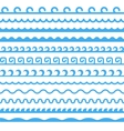 Seamless Blue Marine Horizontal Waves Set vector image vector image