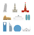 Set landmark Germany Russia Attraction of Dubai vector image