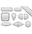 set of white glass buttons with metal frame vector image vector image