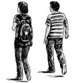 sketch casual couple young citizens walking vector image vector image