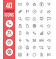 social media thin line icons and contact vector image vector image