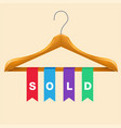 sold clothes hanger sold colorful ribbon backgroun vector image vector image