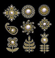 textile embroidered patches with sequins beads vector image vector image