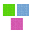 three color puzzle fields with rounded pieces in vector image vector image